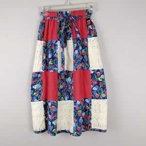 Vintage | Colorful Patched Belted Skirt